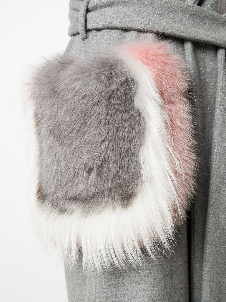 Light GREY COAT WITH SILVER SPARKLING AND FUR FROM PHILIPP PLEIN