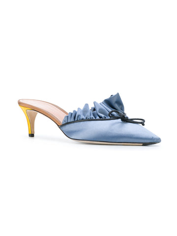 BLUE RUFFLE SATIN STILETTO FROM MARCO DE VINCENZO