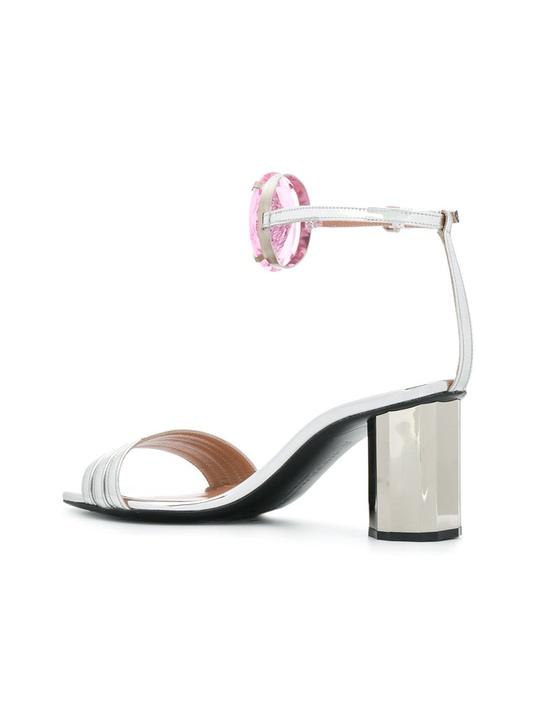 SILVER SANDAL WITH ROSE STONE FROM MARCO DE VINCENZO