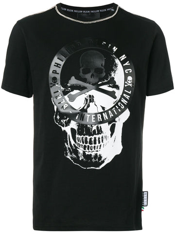 BLACK TSHIRT WITH SCULL AND CHAIN TRIM FROM PHILIPP PLEIN