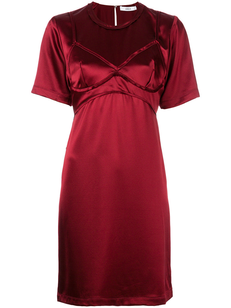 WINE DRESS WITH BRA LOOK FROM AREA