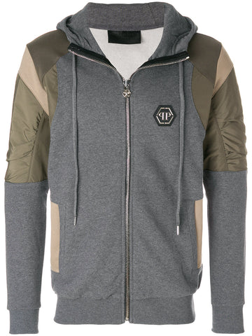 GREY SWEAT HOODIE WITH KHAKI DETAIL FROM PHILIPP PLEIN