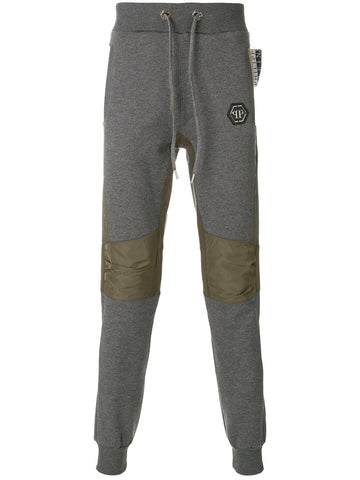 GREY SWEAT PANTS WITH KHAKI DETAIL FROM PHILIPP PLEIN