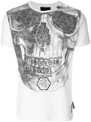 WHITE PRINT SCULL TSHIRT FROM PHILIPP PLEIN