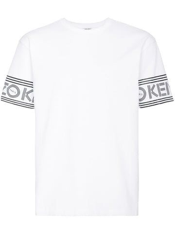 WHITE TSHIRT WITH LOGO ON THE SLEEVES FROM KENZO