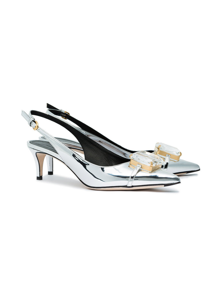 LOW SILVER STILETTO WITH STONE FROM MARCO DE VINCENZO