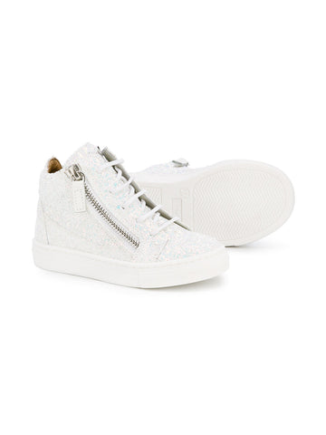 WHITE SPARKLING SNEAKERS FOR CHILDREN FROM GIUSEPPE ZANOTTI