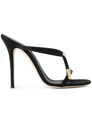 BLACK SNAKE SATIN STILETTO FROM GIUSEPPE ZANOTTI