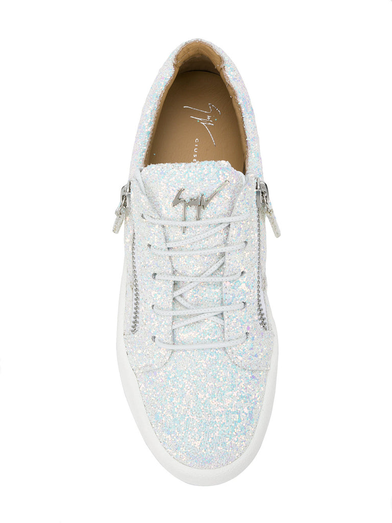 WHITE LOW TOP GLITTER SNEAKERS FROM Giuseppe ZANOTTI