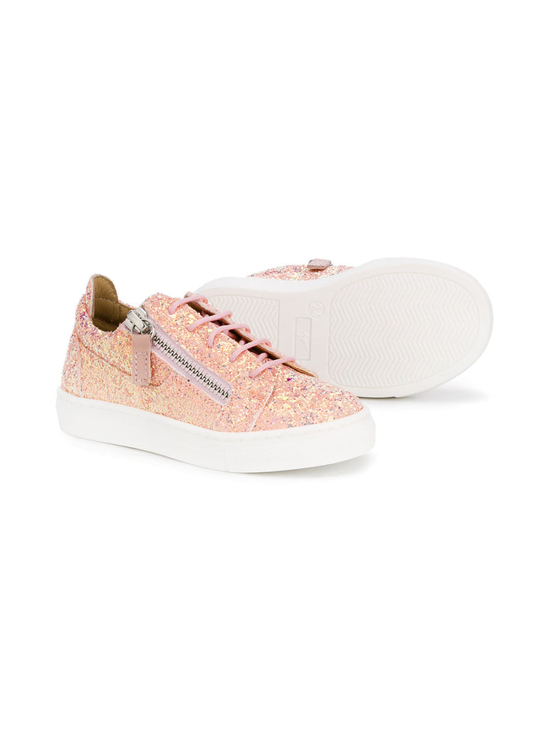 LOW LIGHT ROSE CHILDREN GLITTER SNEAKERS FROM GIUSEPPE ZANOTTI