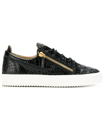 BLACK CROC LOW TOP WITH WHITE SOLE AND GOLD LOGO FROM GIUSEPPE ZANOTTI