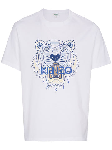 WHITE TSHIRT WITH TIGER AND BLUE LOGO FROM KENZO