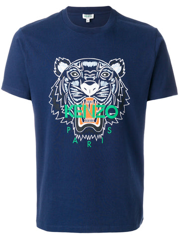 NAVY TSHIRT WITH TIGER GREEN LOGO FROM KENZO