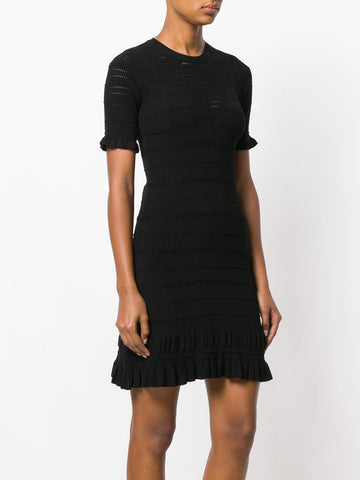 BLACK KNIT DRESS WITH RUFFLE FROM KENZO