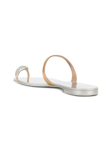 GOLD SANDAL WITH CRYSTAL TOE RING FROM GIUSEPPE ZANOTTI