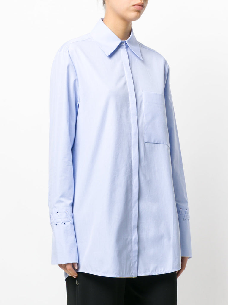 LIGHT BLUE LOOSE FIT SHIRT WITH DETAILS FROM VICTORIA VICTORIA BECKHAM