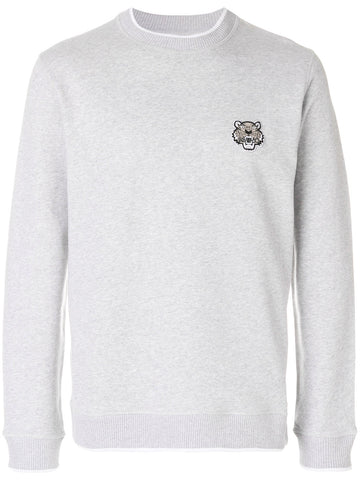 GREY SWEATSHIRT WITH SMALL TIGER LOGO FROM KENZO