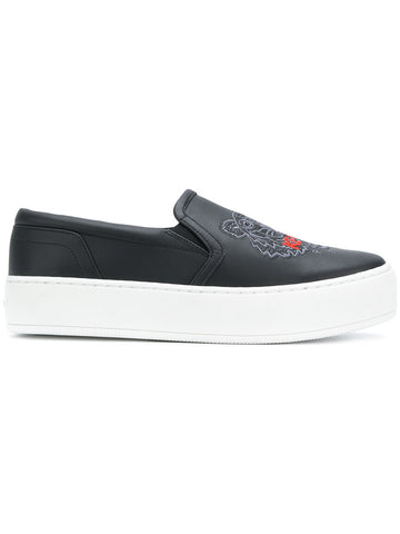 BLACK SLIP ON SNEAKERS WITH TIGER AND RED LOGO FROM KENZO