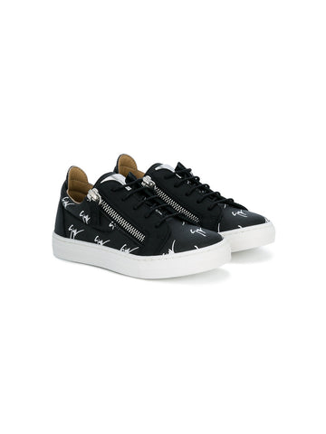 BLACK SIGNATUR LOW TOP SNEAKERS FOR CHILDREN FROM GIUSEPPE ZANOTTI