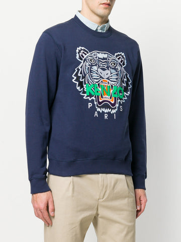 BLUE TIGER SWEAT WITH GREEN LOGO FROM KENZO
