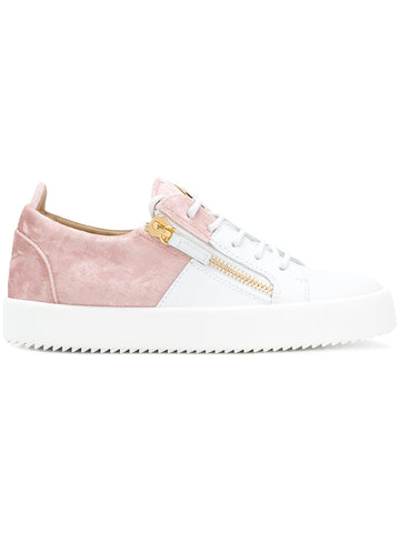 WHITE LOW TOP SNEAKERS WITH LIGHT PINK VELVET FROM GIUSEPPE ZANOTTI