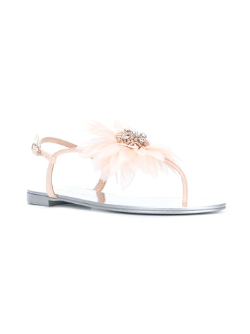 LIGHT PINK FLOWER SANDAL WITH CRYSTALS FROM GIUSEPPE ZANOTTI