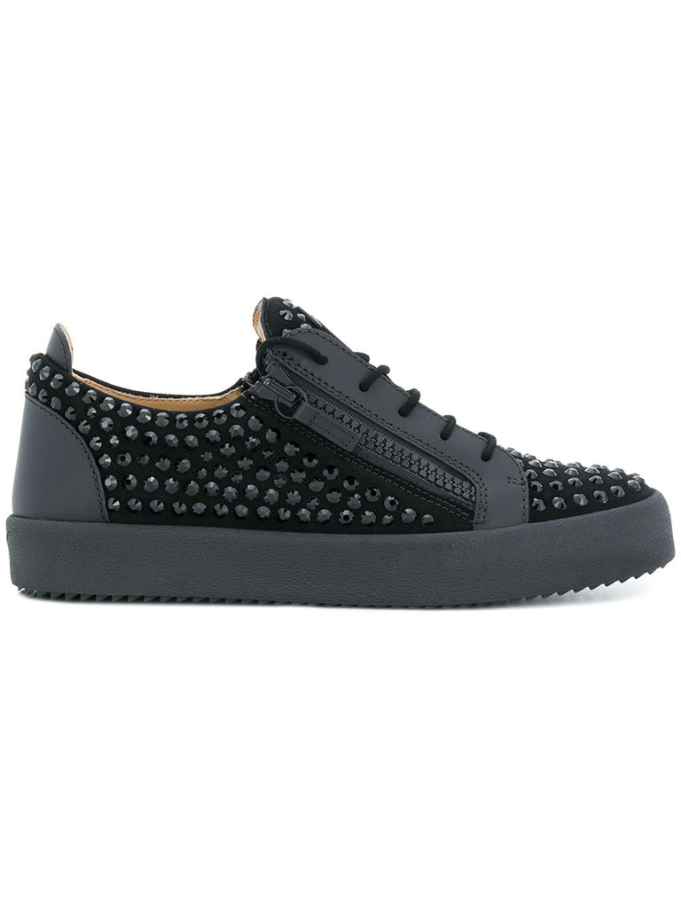 BLACK SUEDE SNEAKER WITH BLACK STONES FROM GIUSEPPE ZANOTTI