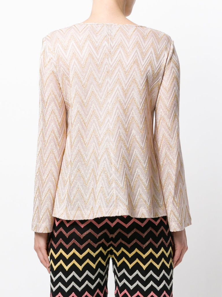 LONG SLEEVE GOLD AND ROSE TONE LYREX BLOUSE FROM M MISSONI
