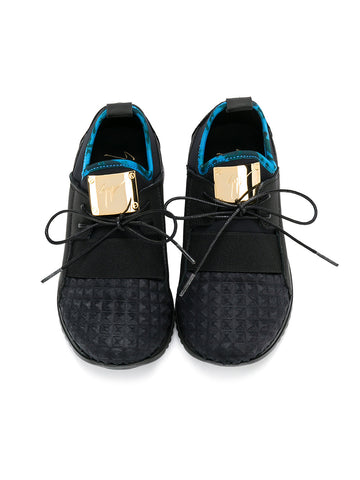 BLACK CHILDREN RUNNERS WITH GOLD PLATE FROM GIUSEPPE ZANOTTI