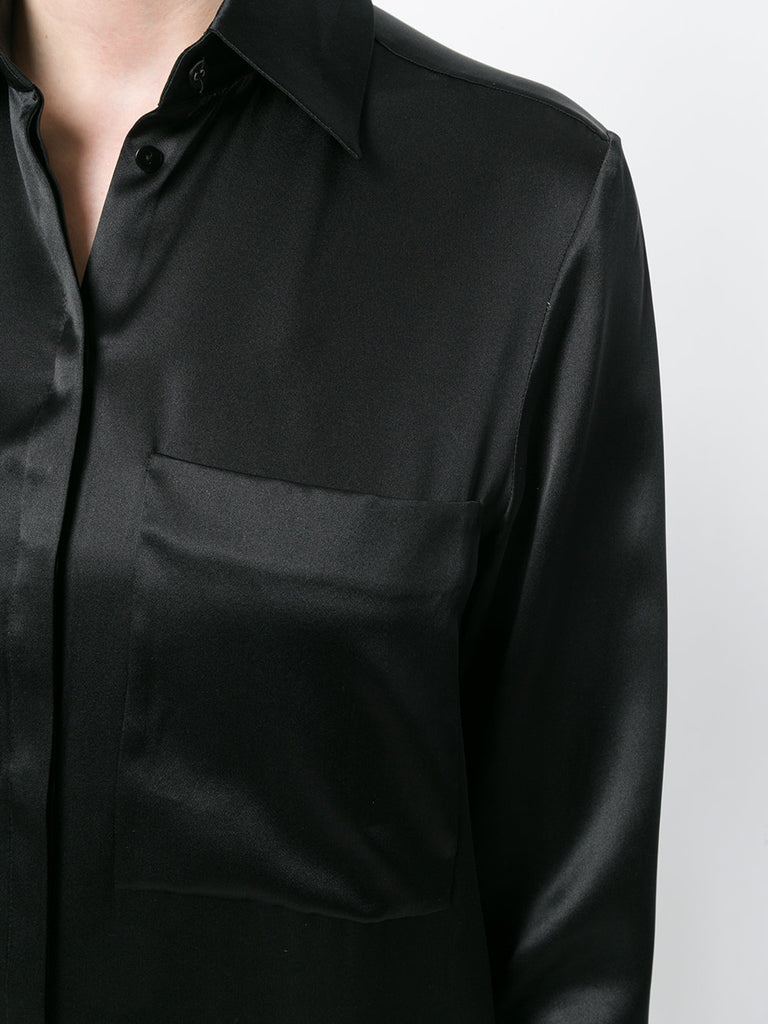 BLACK SILK SHIRT WITH DETAIL ON THE CUFF FROM VICTORIA BECKHAM