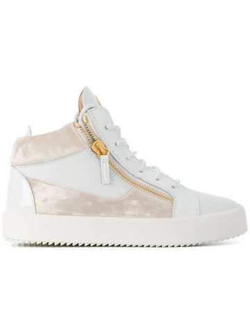 WHITE MIDHIGH SNEAKER WITH BEIGE VELVET FROM GIUSEPPE ZANOTTI