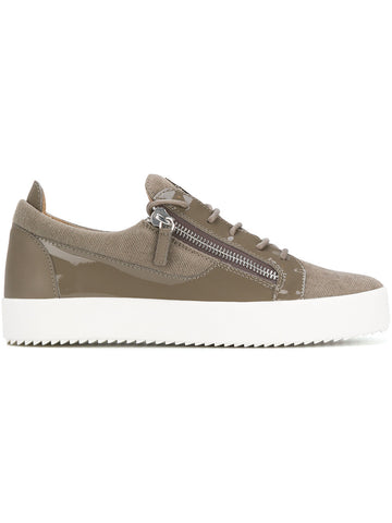 KHAKI CANVAS SNEAKERS FROM GIUSEPPE ZANOTTI