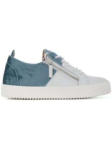 WHITE AND LIGHT BLUE VELVET SNEAKER FROM GIUSEPPE ZANOTTI