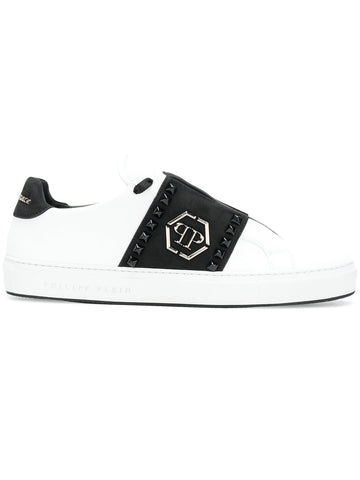 WHITE LOW SNEAKERS WITH STUDS AND LOGO FROM PHILIPP PLEIN