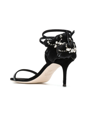 BLACK STILETTO WITH FLOWER AND STONES FROM GIUSEPPE ZANOTTI