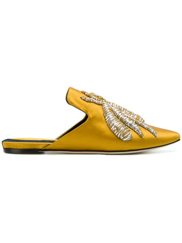 Yellow silk satin mules with silver embrodery from Sanayi 313