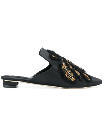 BLACK SILK SATIN MULES WITH GOLD EMBRODERY FROM SANAYI 313