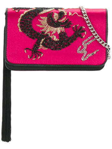 PINK DRAGON CLUTCH WITH SILVER CHAIN FROM les petits joueurs