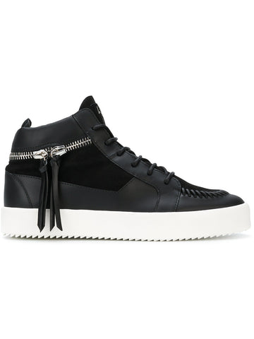 BLACK MIDHIGH SUEDE AND LEATHER ZIP SNEAKERS FROM GIUSEPPE ZANOTTI