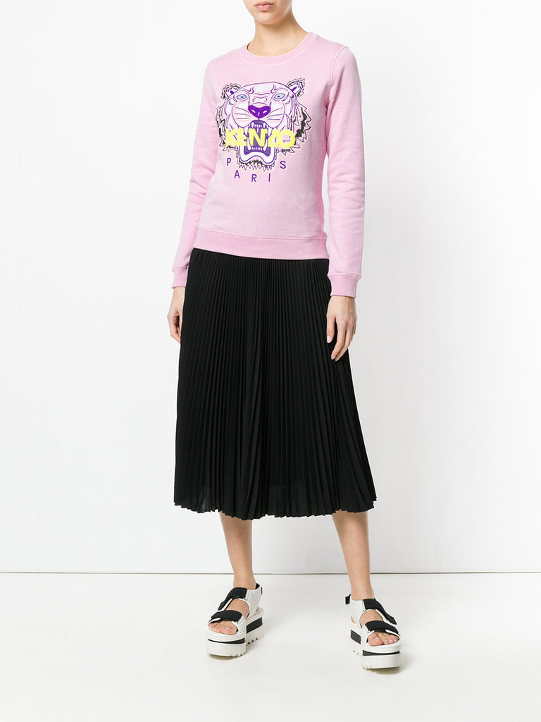 LIGHT PINK TIGER SWEATSHIRT WITH YELLOW LOGO FROM KENZO