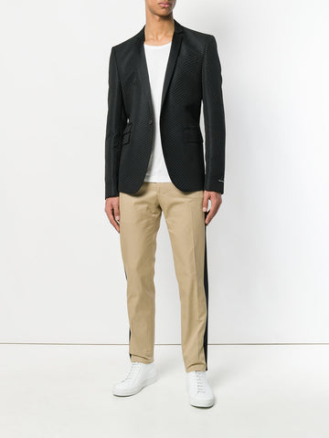 CAMEL PANTS WITH PINSTRIPE IN BLACK FROM LES HOMMES