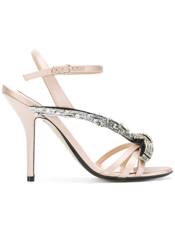 beige satin stiletto with  crystal from n021