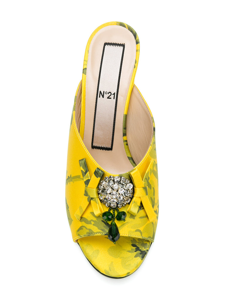 YELLOW FLOWER STILETTO WITH CRYSTAL AND BOW FROM Nº21