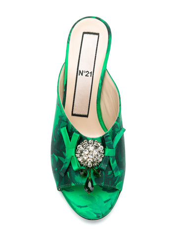 GREEN FLOWER STILETTO WITH CRYSTAL AND BOW FROM Nº21