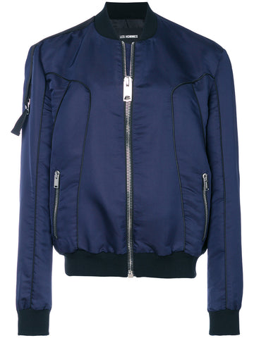 BLUE BOMBER JACKET WITH PIPING FROM LES HOMMES