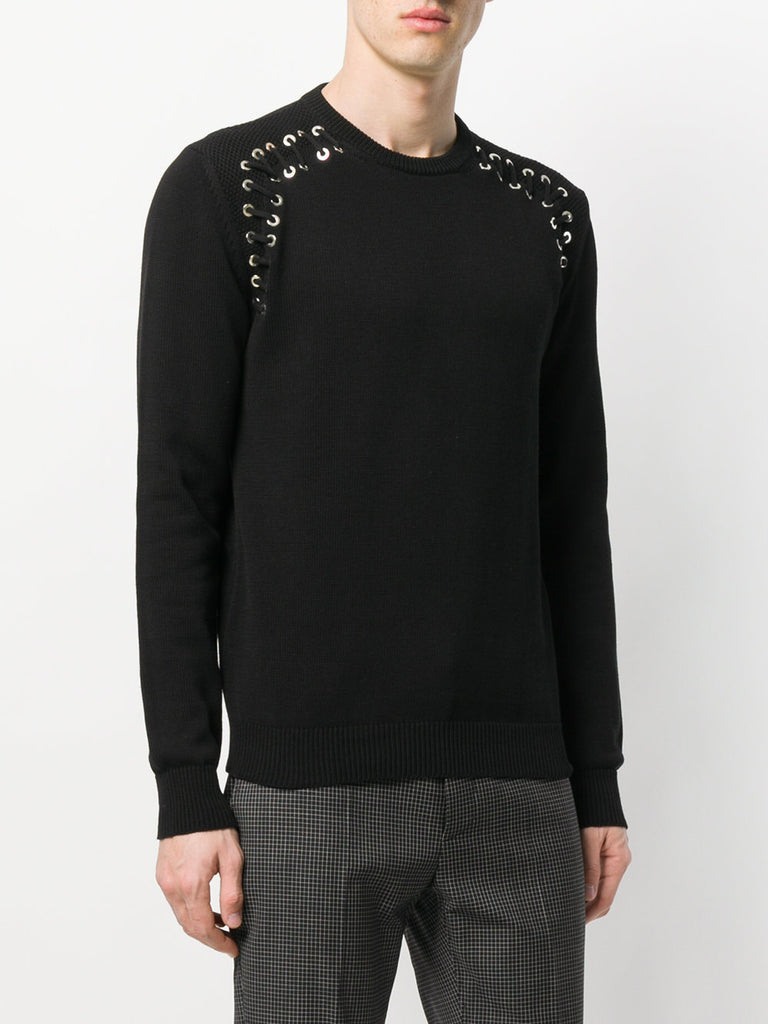 BLACK LACE UP KNIT FROM LES HOMMES