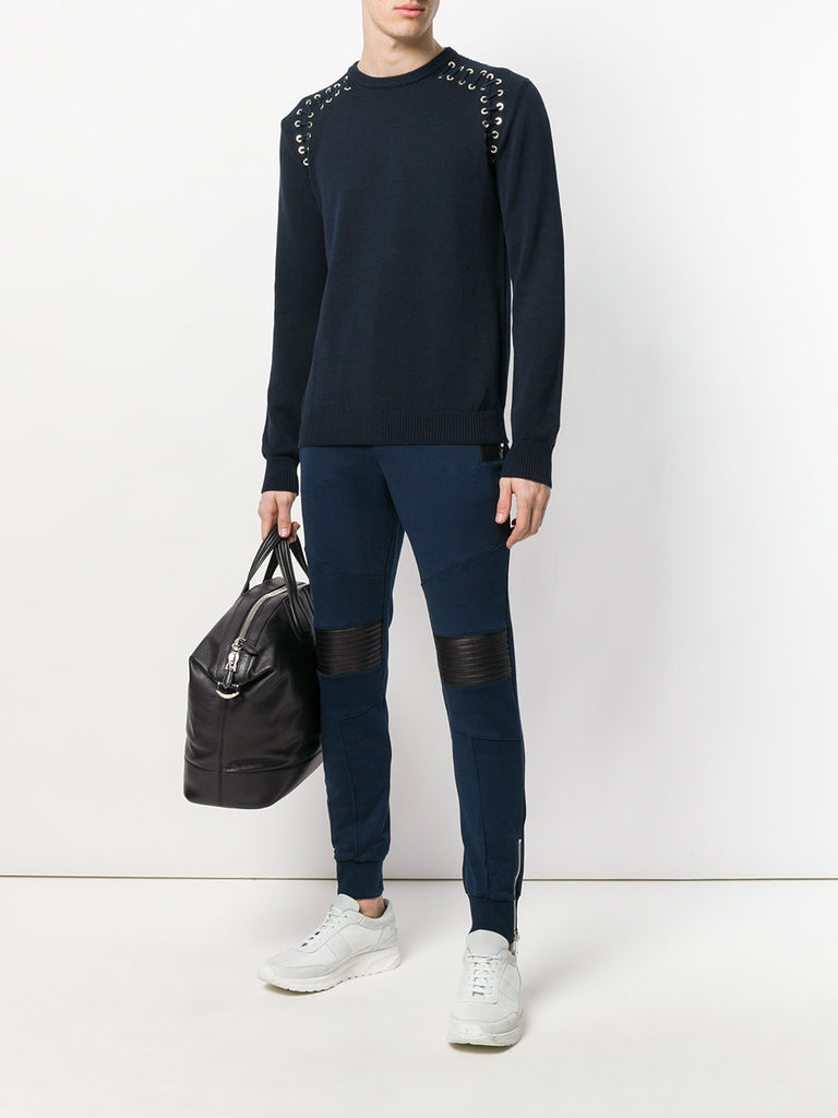 BLUE JOGGING PANTS WITH LEATHER DETAIL FROM LES HOMMES