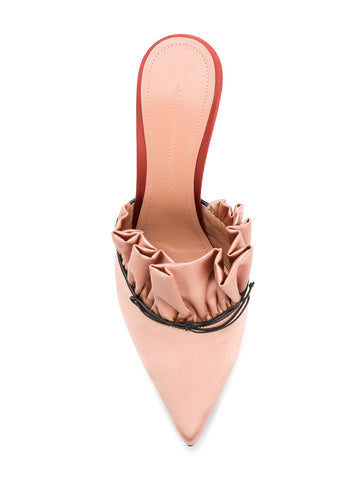 ROSE SATIN MULES STILETTO WITH RUFFLES FROM MARCO DE VINCENZO