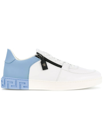WHITE AND LIGHT BLUE SNEAKER WITH ZIP DETAIL FROM VERSACE