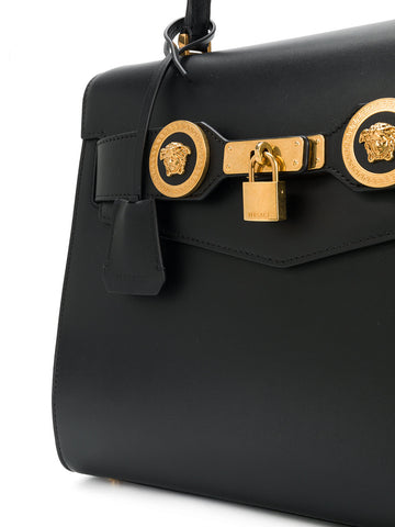 ONE HANDLE BAG IN BLACK WITH GOLD LOCK AND MEDUSA FROM VERSACE